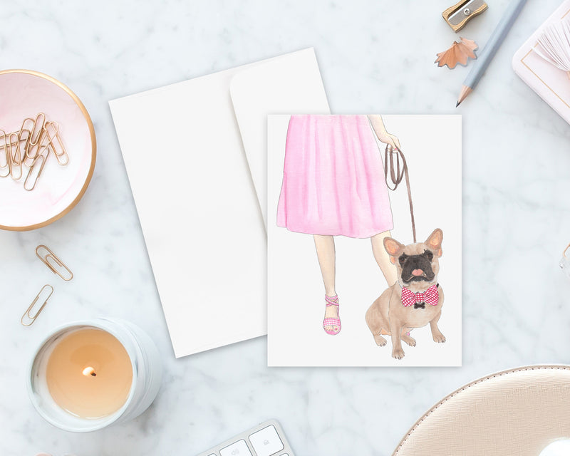 Masked Tricolor Frenchie Walkin' Folded Cards (Set of 10)