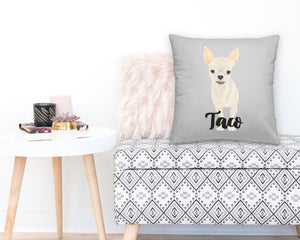 Personalized Fawn Chihuahua Reversible Throw Pillow