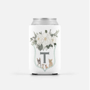 Watercolor Family Crest Can Cooler Wedding Favors