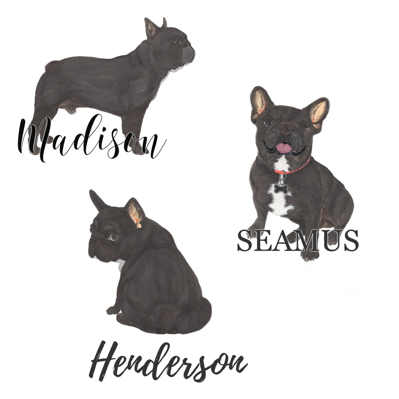 Personalized Black / Brindle French Bulldog Fine Art Prints
