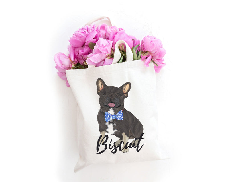 Personalized Black & Tan Tricolor French Bulldog Tote Bag