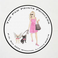 Black & Tan Tricolor French Bulldog Round Address Labels