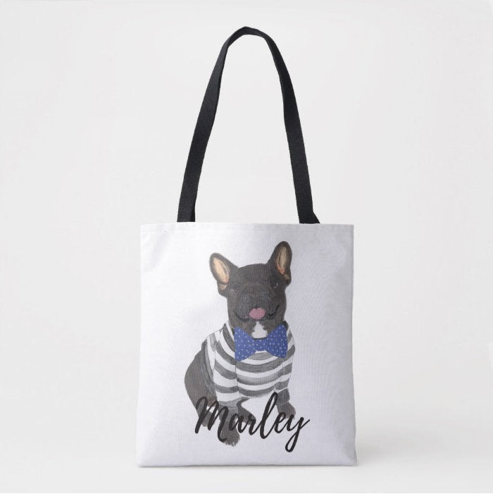 Personalized Black / Brindle French Bulldog Tote Bag