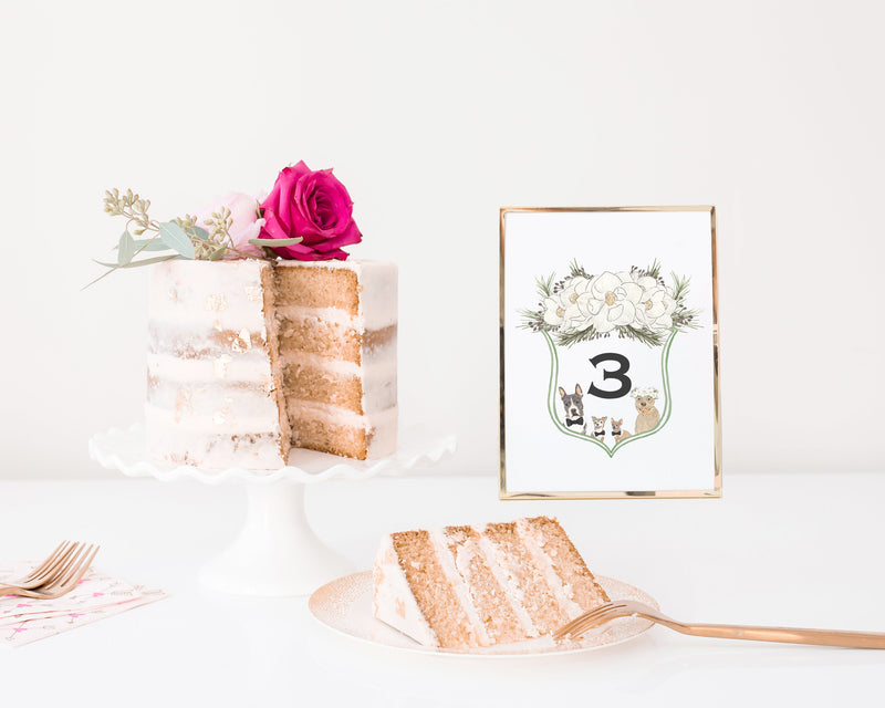 Watercolor Family Crest Table Numbers