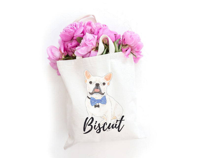 Personalized White / Pied French Bulldog Tote Bag