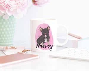 Personalized Black & Tan Tricolor Frenchie Ceramic Mug
