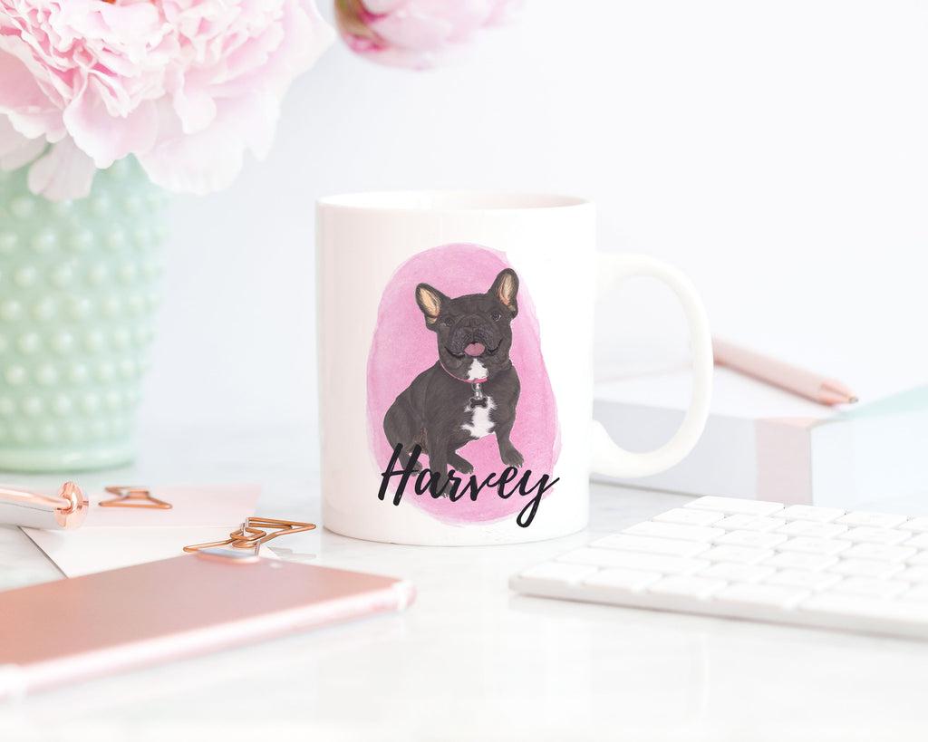 Personalized Black / Brindle Frenchie Ceramic Mug