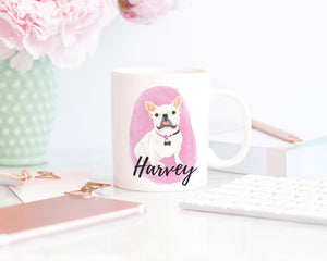 Personalized White / Pied Frenchie Ceramic Mug
