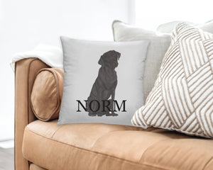 Personalized Black Lab Reversible Throw Pillow