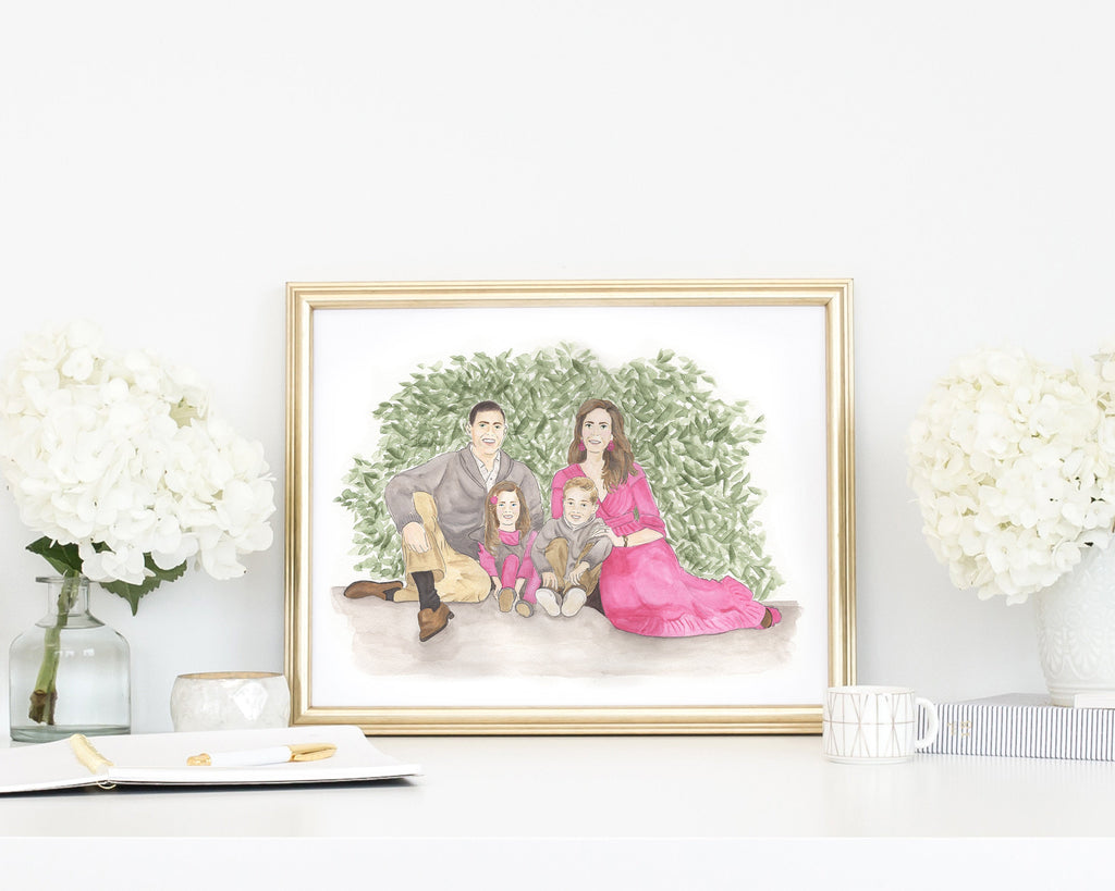 "11x14"" Custom Watercolor Family Painting"