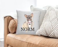 Personalized Blue Fawn Tri-Color French Bulldog Reversible Throw Pillow