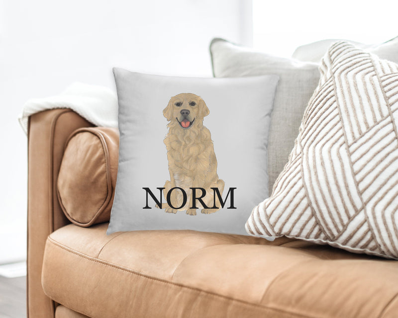 Personalized Golden Retriever Reversible Throw Pillow