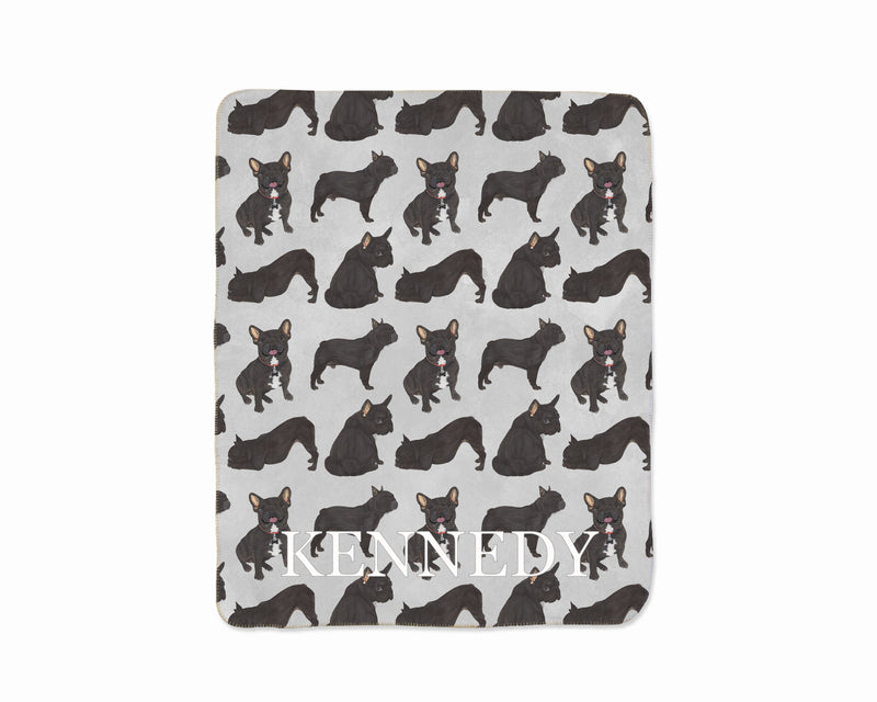 Personalized Black / Brindle French Bulldog Sherpa Throw Blanket