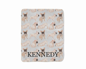 Personalized Masked French Bulldog Sherpa Throw Blanket