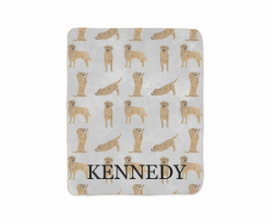 Personalized Golden Retriever Sherpa Throw Blanket