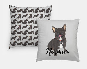 Personalized Black / Brindle French Bulldog Reversible Throw Pillow