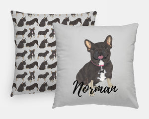 Personalized Black & Tan Tri-Color French Bulldog Reversible Throw Pillow