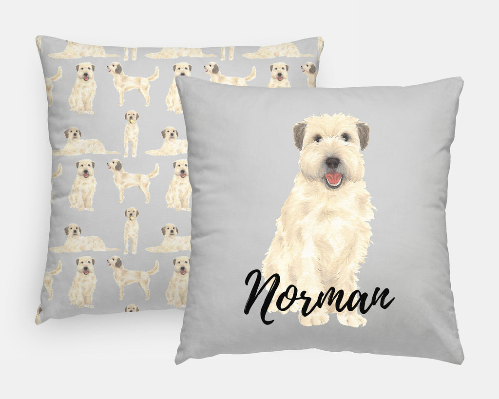 Personalized Wheaten Terrier Reversible Throw Pillow