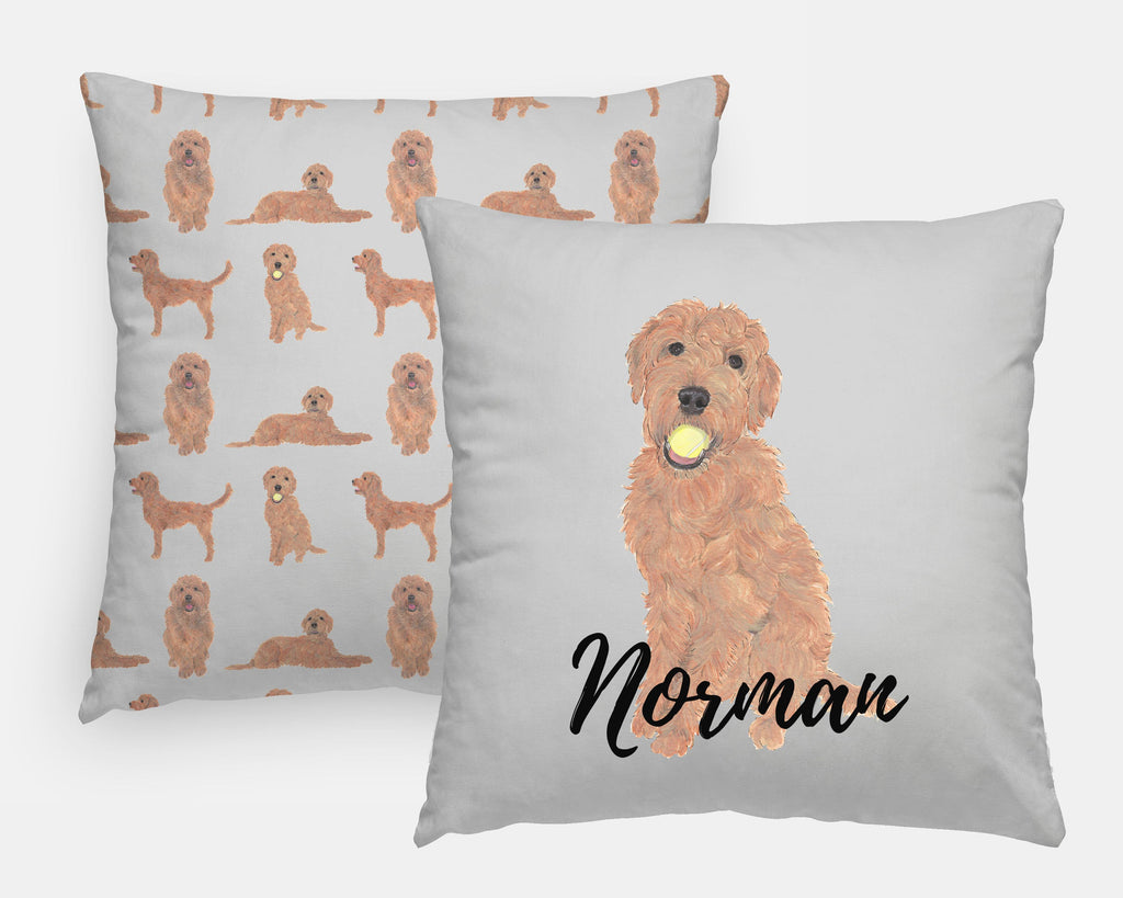 Personalized Golden Doodle Reversible Throw Pillow