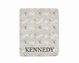 Personalized White / Pied French Bulldog Sherpa Throw Blanket