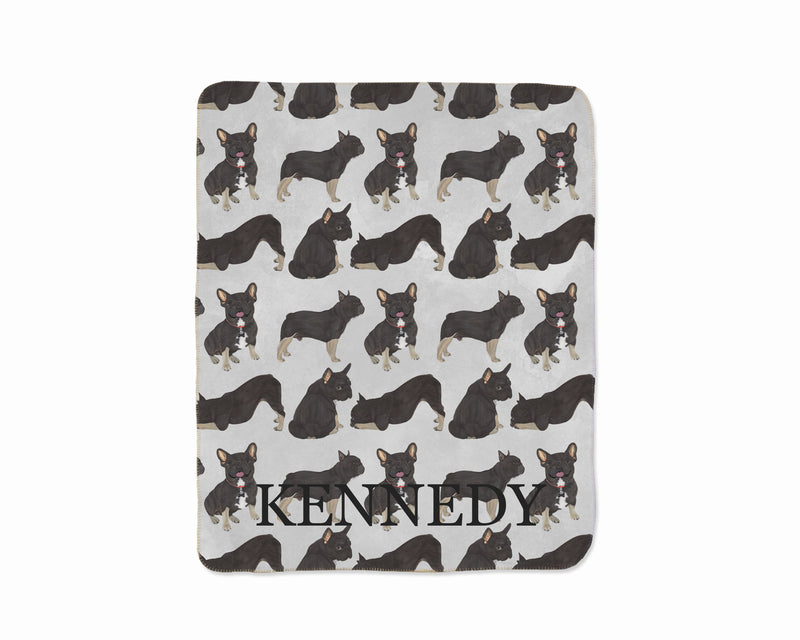 Personalized Black & Tan Tricolor French Bulldog Sherpa Throw Blanket