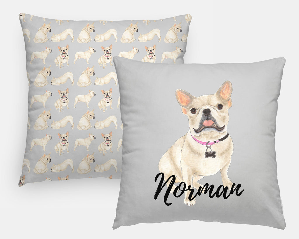 Personalized Fawn / Cream French Bulldog Reversible Throw Pillow