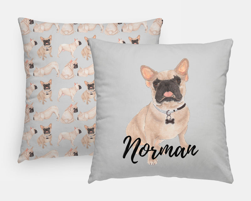 Personalized Masked Fawn French Bulldog Reversible Throw Pillow