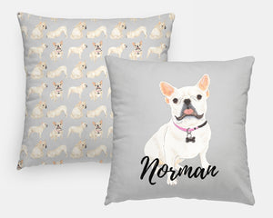 Personalized White/Pied French Bulldog Reversible Throw Pillow