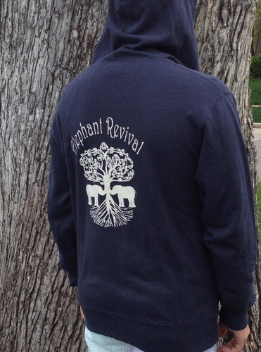 Elephant Revival - Tree Roots Zip Hoodie Blue