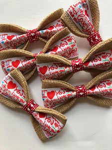 "DOG BOW TIES - Valentine's Day ""I Love You"""