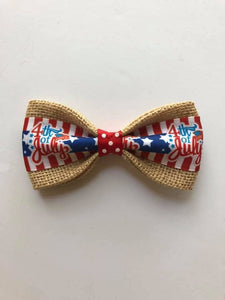 DOG BOW TIES - 4th Of July On Regular Burlap