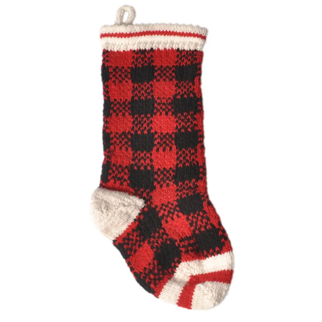 Chilly Dog - Hand Knit Wool Stocking - Buffalo Plaid