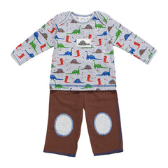Gray Dinosaurs Patches Outfit