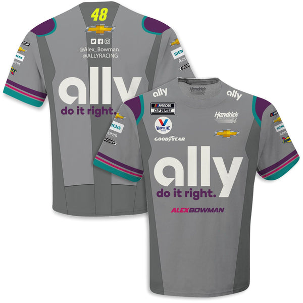 Alex Bowman 2021 Ally Sublimated Uniform #48 NASCAR T-Shirt Gray