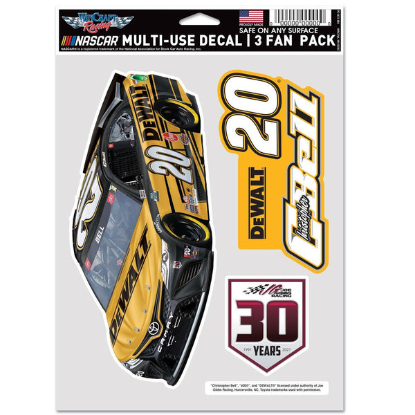 Christopher Bell 2021 Multi-Use DeWalt #20 NASCAR Decal 3-Pack