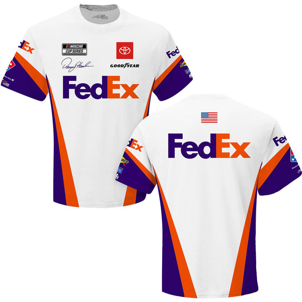 Denny Hamlin 2021 FedEx Sublimated Uniform #11 NASCAR T-Shirt White