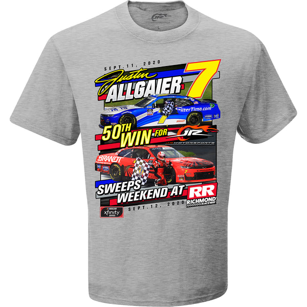 Justin Allgaier 2020 Richmond Sweep Xfinity Race Win 50th JR Motrorsports Win #7 NASCAR T-Shirt Gray
