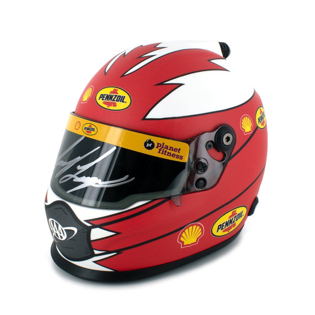 Autographed Joey Logano Collectible Shell Pennzoil / Replica Mini Helmet