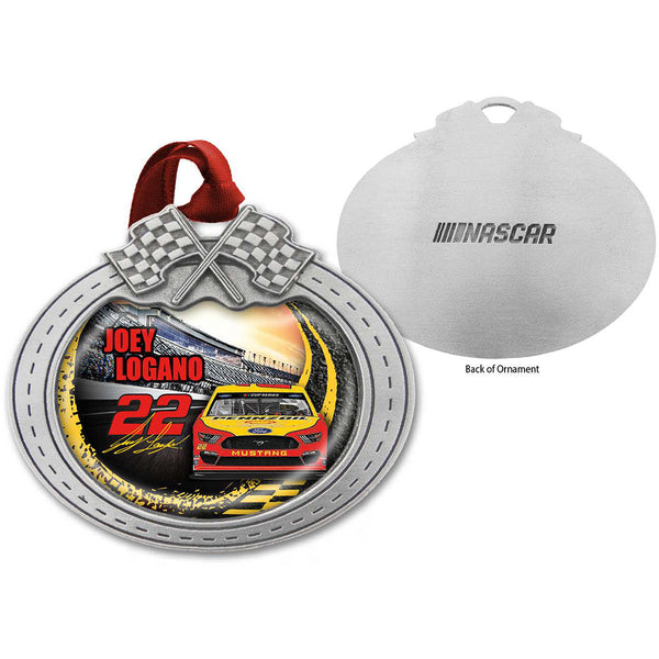 Joey Logano 2020 Car Pewter Metal Shell Pennzoil #22 NASCAR Christmas Ornament