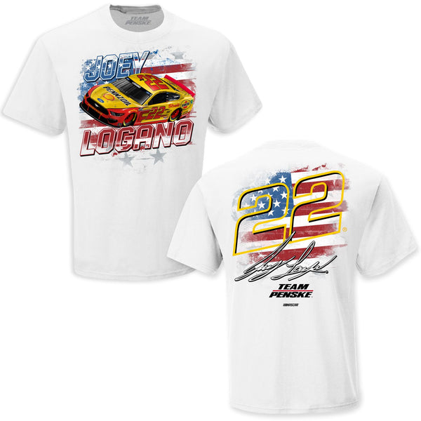 Joey Logano 2021 Shell Pennzoil Old Glory #22 NASCAR T-Shirt White