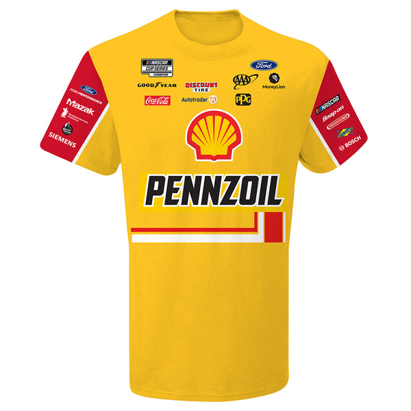 Joey Logano 2020 Shell Pennzoil Sublimated Pit Crew #22 NASCAR T-Shirt Yellow