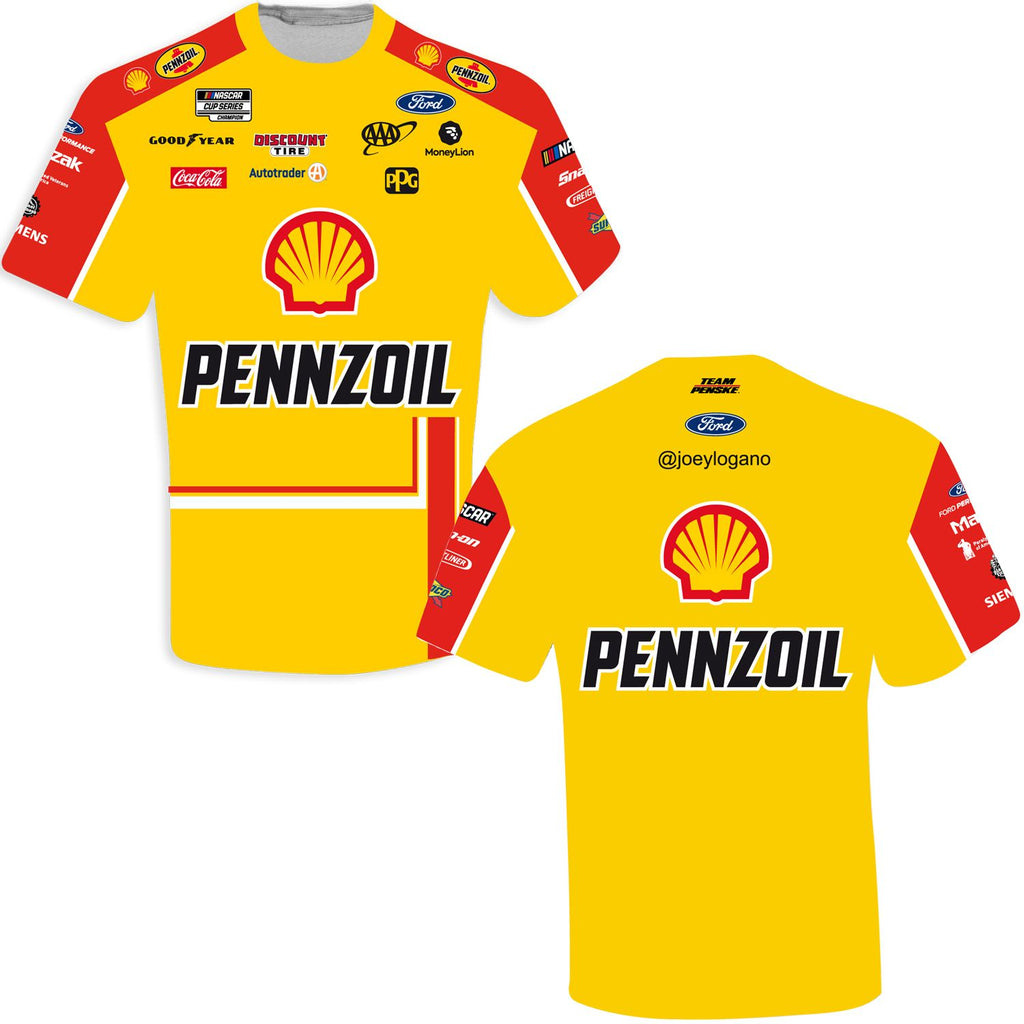 Joey Logano 2021 Shell Pennzoil Sublimated Uniform #22 NASCAR T-Shirt Yellow
