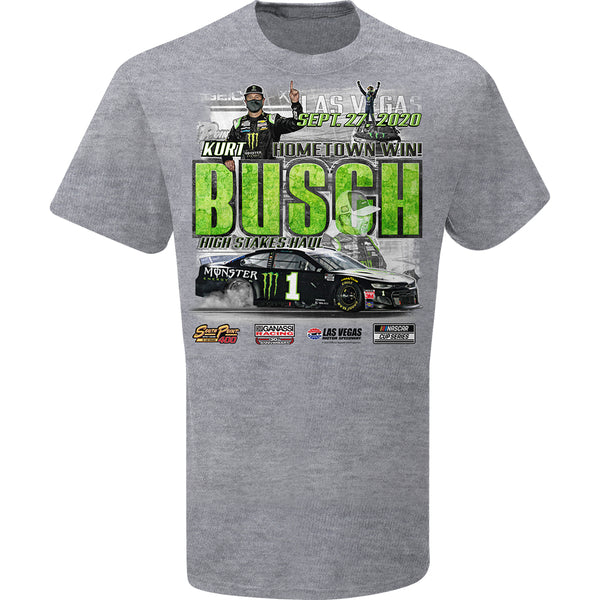 Kurt Busch 2020 Las Vegas Race Win Monster Energy #1 NASCAR T-Shirt Gray