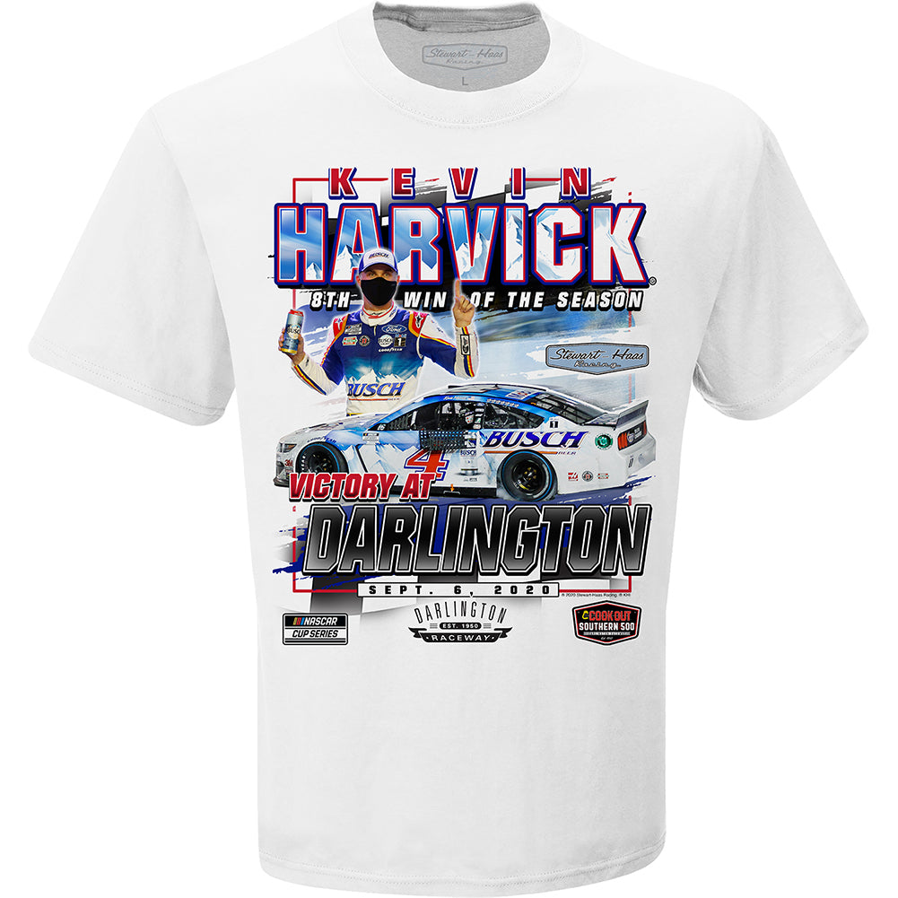 Kevin Harvick 2020 Southern 500 Darlington Race Win Busch #4 NASCAR T-Shirt White