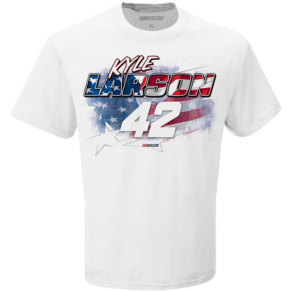Kyle Larson Patriotic Red, White and Blue #42 NASCAR T-Shirt White
