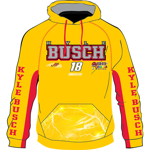 Kyle Busch 2020 Sublimated M&M's #18 NASCAR Performance Hoodie Yellow