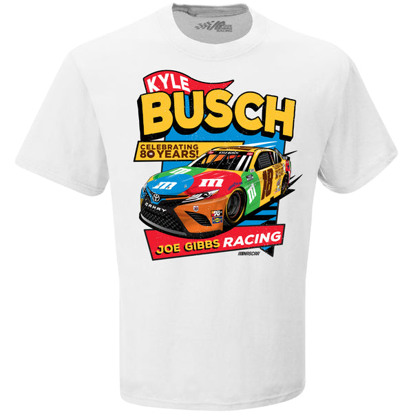 Kyle Busch 2021 Darlington Throwback M&M's 80th Anniversary #18 NASCAR T-Shirt White