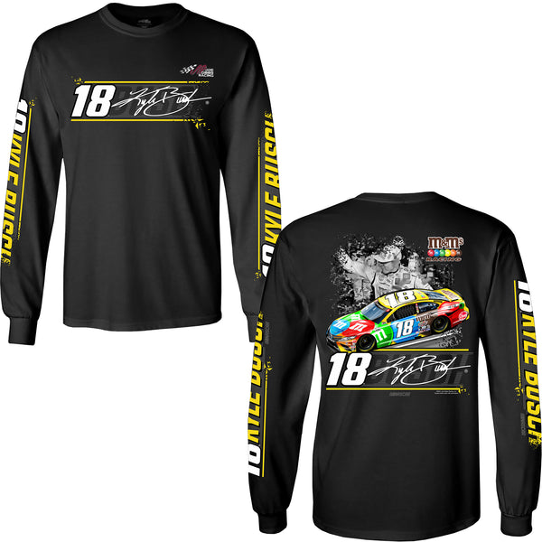 Kyle Busch 2021 Long Sleeve M&M's Car #18 NASCAR T-Shirt Black