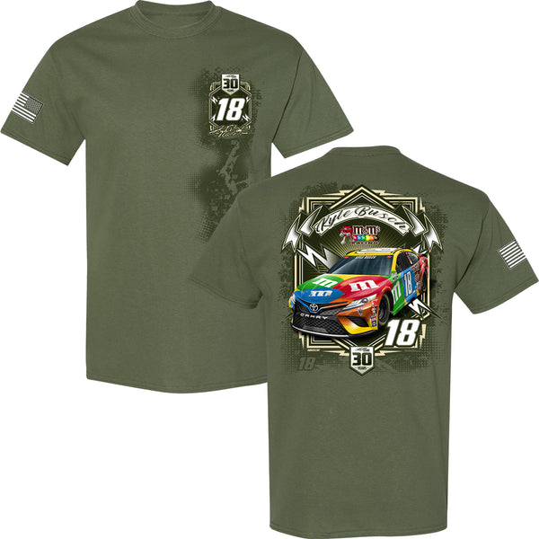 Kyle Busch 2021 Military Salute M&M's #18 NASCAR T-Shirt Green