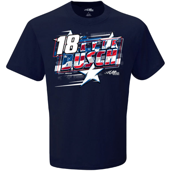 Kyle Busch 2021 Patriotic Stars and Stripes #18 NASCAR T-Shirt Blue